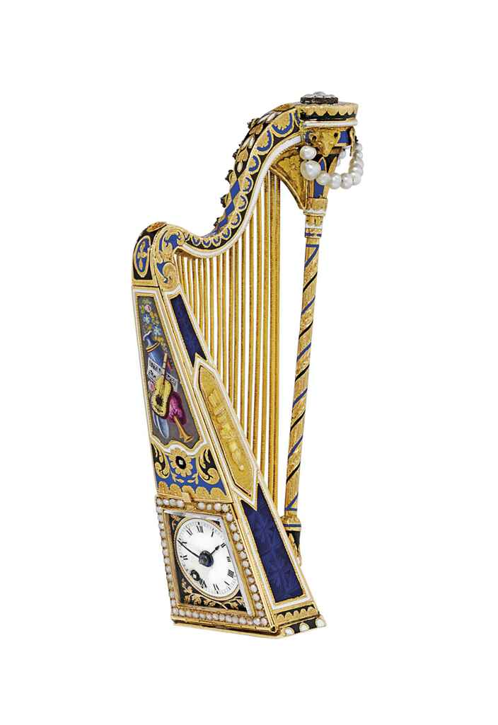 SWISS AN EXCEPTIONAL AND VERY RARE GOLD, ENAMEL, PEARL AND D...