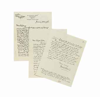 TOLKIEN, John Ronald Reuel (1892-1973). Two autograph letters signed ('J.R.R. Tolkien') to Doris Sykes, Merton College, Oxford, and Headington, 28 January 1956 and n.d., 5½ pages, 4to (the first with minor markings in red pencil), envelope.