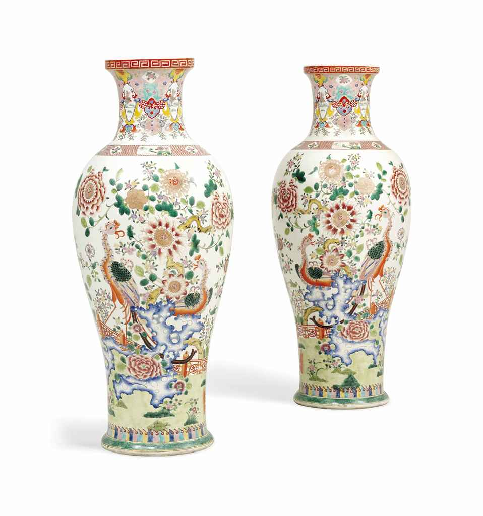 A PAIR OF LARGE CHINESE-STYLE BALUSTER VASES OF LARGE SIZE ...