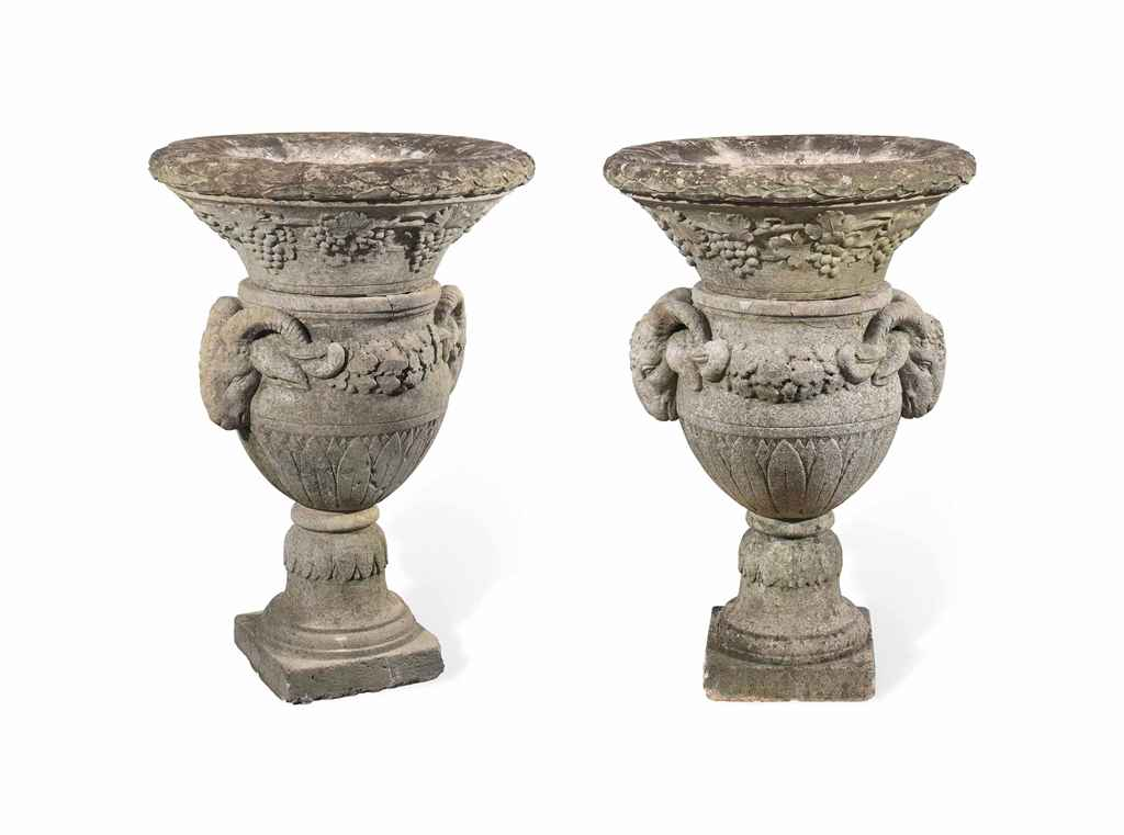 A PAIR OF CARVED STONE GARDEN