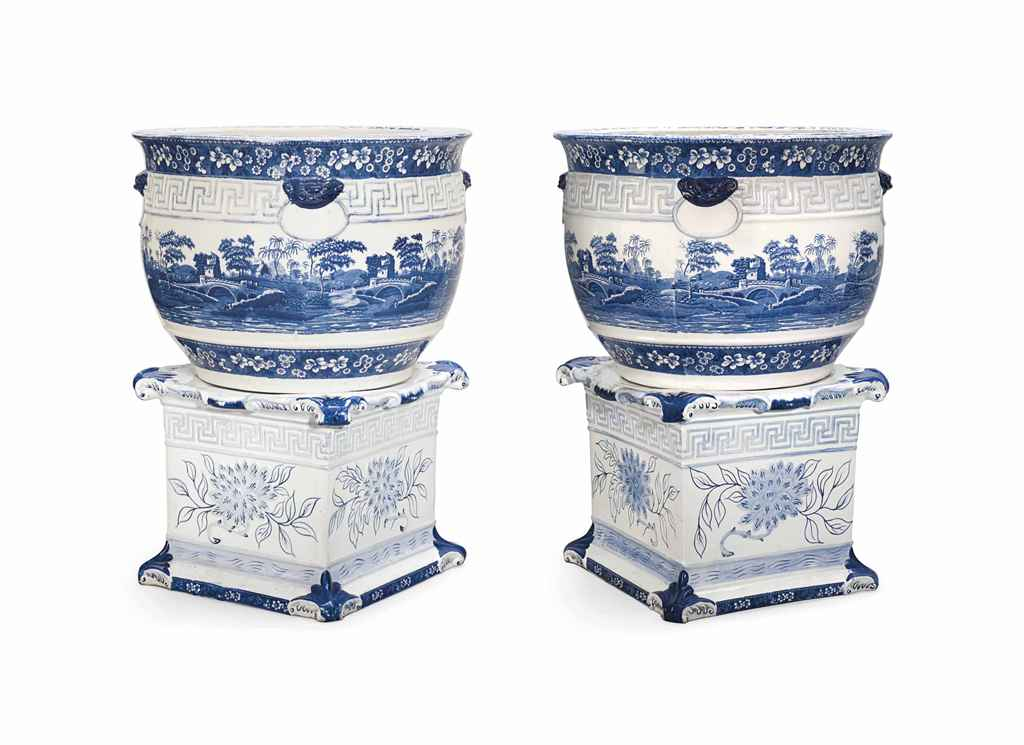 A PAIR OF COPELAND EARTHENWARE