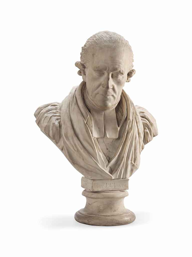 A WHITE MARBLE BUST OF THE REV