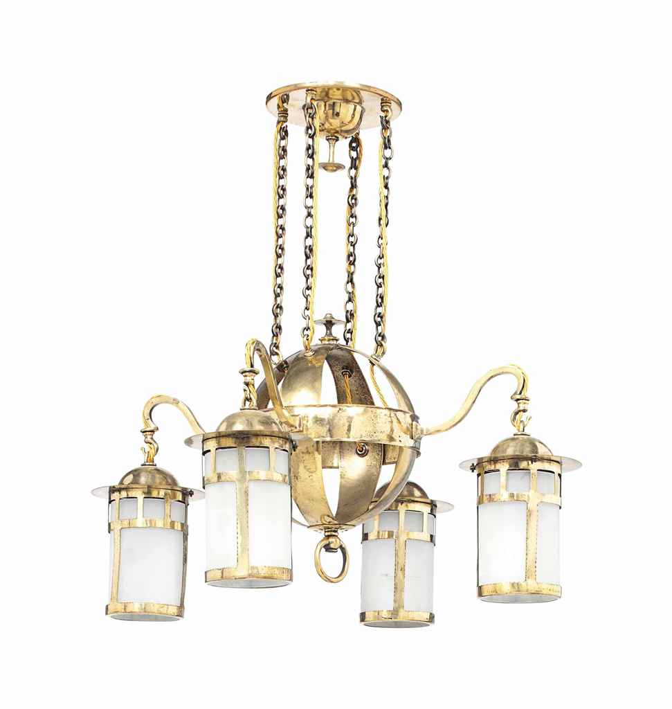 AN ARTS & CRAFTS BRASS AND FROSTED GLASS FOUR LIGHT CHANDELIER