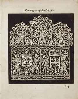 VINCIOLO, Federico di (fl. 1587-1599). Les singuliers et nouveaux pourtraicts et Ouvrages de lingerie. Paris: Jean le Clerc, 1587.