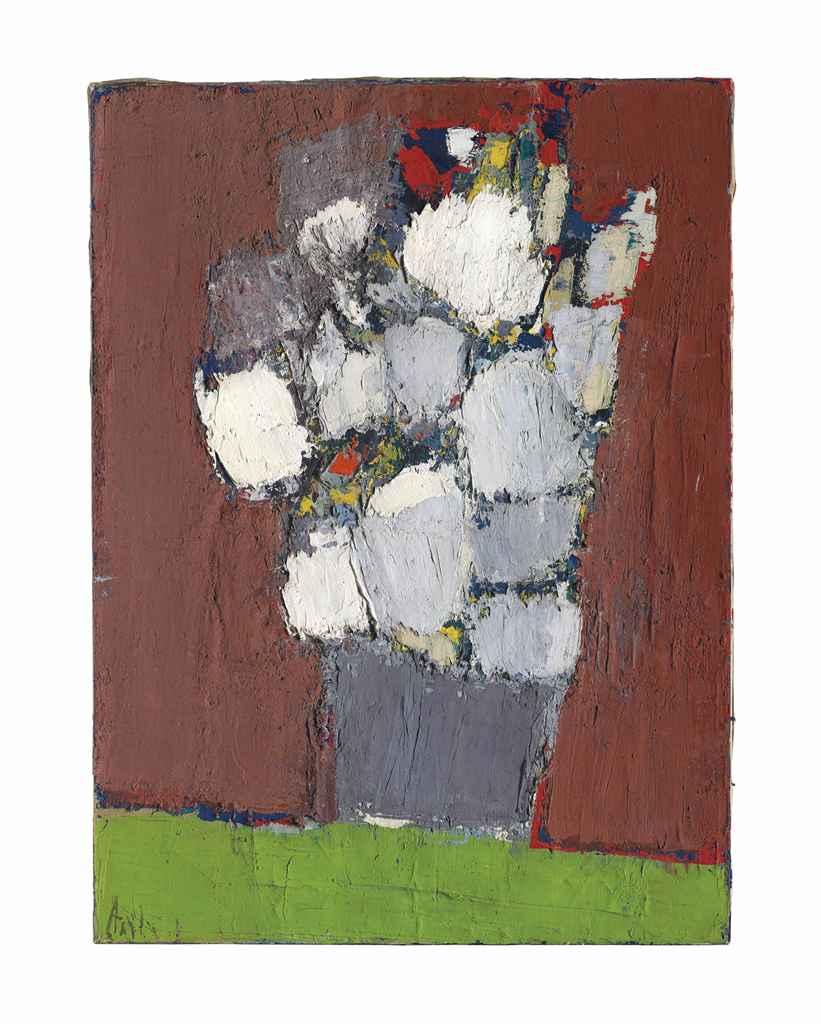 nicolas de sta l 1914 1955 fleurs blanches et rouges dans un vase gris christie 39 s. Black Bedroom Furniture Sets. Home Design Ideas