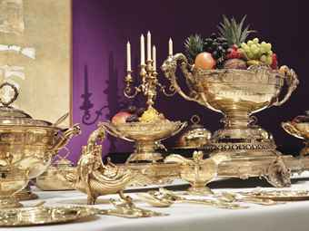 THE MAHARAJA OF PATIALA'S BANQUETING-SERVICE AN EXTENSIVE GEORGE V SILVER-GILT DINNER-SERVICE