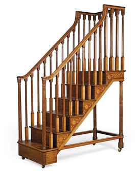 A SET OF GEORGE III ENGRAVED MAHOGANY, SYCAMORE AND TULIPWOOD LIBRARY STEPS