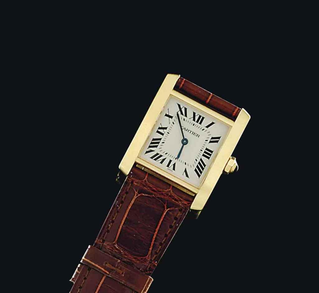 An 18ct gold quartz 'Tank' wristwatch, by Cartier