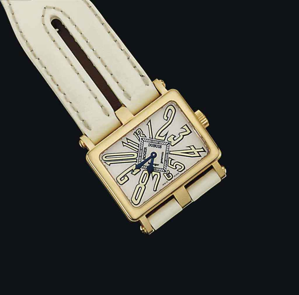An 18ct pink gold 'Follow Me' wristwatch, by Roger Dubuis