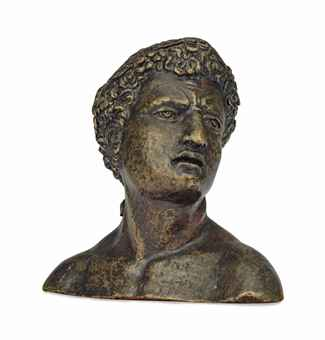 A BRONZE HEAD OF BACCHUS