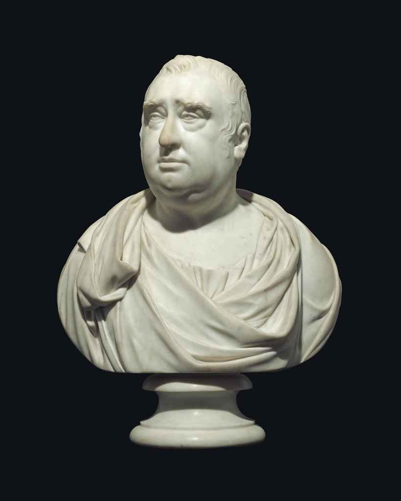 A CARVED MARBLE BUST OF CHARLES JAMES FOX