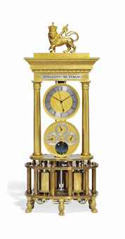 AN AUSTRIAN ORMOLU AND SILVER COLUMN TIMEPIECE CLOCK OF YEAR DURATION WITH CALENDAR AND MOONPHASE DIALS