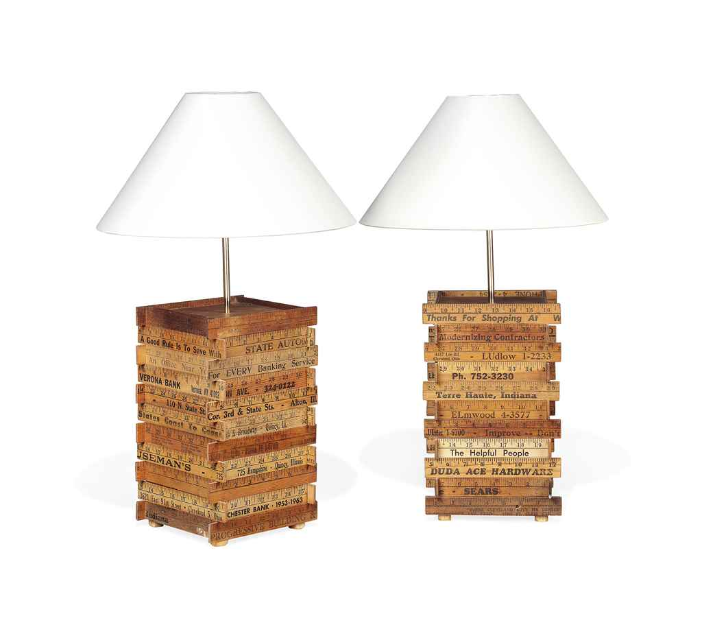 Antique wooden table lamps - Pair Of Novelty Wood Table Lamps Made Of Antique Wood Rulers Of