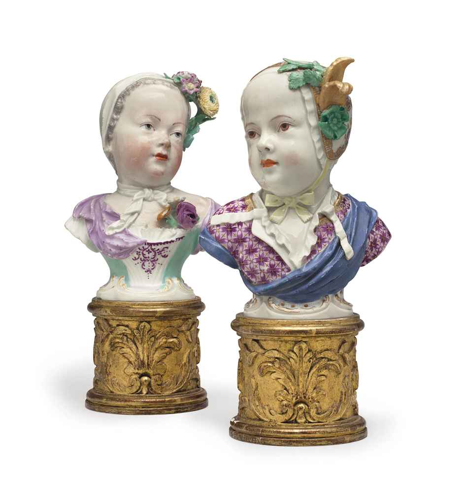 AN ASSEMBLED PAIR OF MEISSEN PORCELAIN BUSTS OF PRINCE LOUIS...