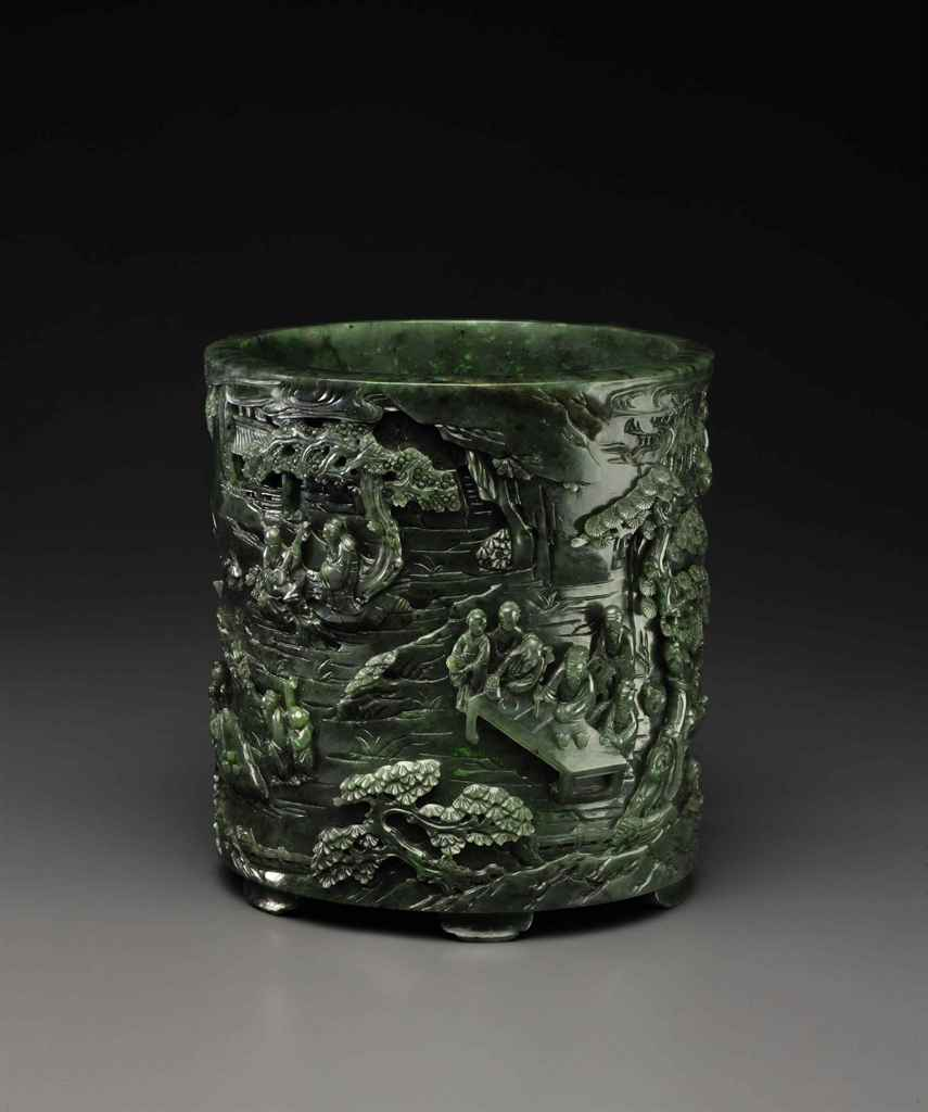 A FINELY CARVED SPINACH-GREEN JADE BRUSH POT, BITONG
