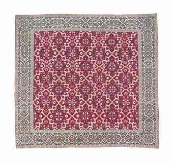 A Mughal Millefleurs Star Lattice Carpet North India
