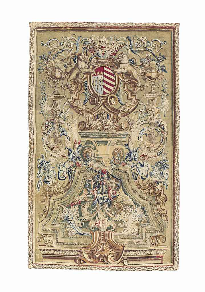 A LOUIS XIV ARMORIAL TAPESTRY PANEL