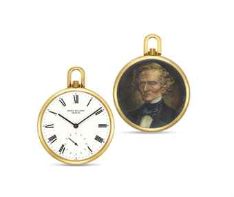 PATEK PHILIPPE. AN EXCEPTIONALLY FINE AND UNIQUE 18K GOLD OPENFACE KEYLESS LEVER WATCH WITH ENAMEL MINIATURE PORTRAIT OF HECTOR BERLIOZ BY SUZANNE ROHR AFTER ED. WINKLER, WITH ORIGINAL CERTIFICATE AND BOX