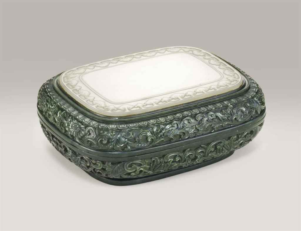 A WHITE JADE-INSET SPINACH GREEN JADE RECTANGULAR BOX AND CO...