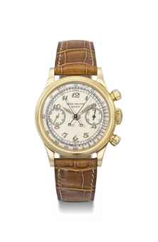 Patek Philippe. An extremely rare and very important 18K gold split seconds chronograph wristwatch with luminous Breguet numerals dial and screw back