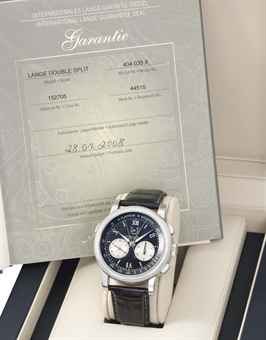 A. Lange & Söhne. A very rare, fine, large and almost certainly unique stainless steel double split seconds flyback chronograph wristwatch with power reserve, original certificate and box