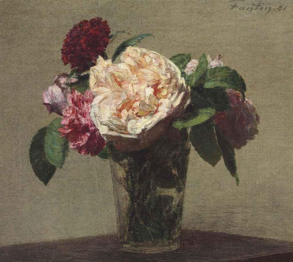 henri fantin latour 1836 1904 roses th et oeillet rouge christie 39 s. Black Bedroom Furniture Sets. Home Design Ideas