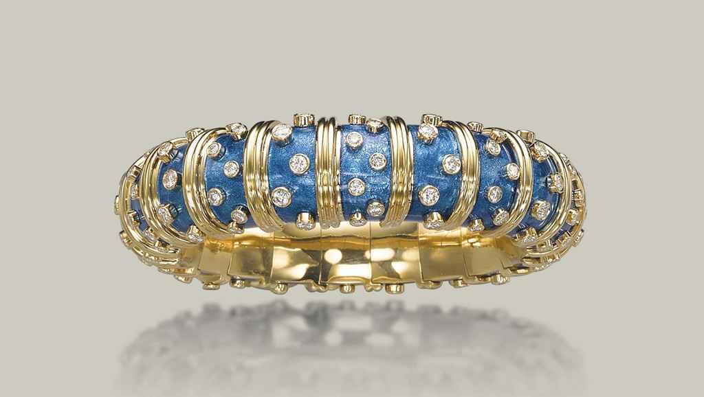 ee0e626b1 ... croisillons bracelets; new tiffany co. schlumberger® open square  bracelet in 18k gold. an enamel and diamond jackie ...