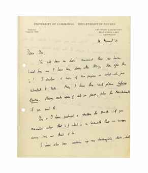 CRICK, Francis (1916-2004). Autograph letter signed ('Francis') to Ian [Trotter], Cavendish Laboratory, Cambridge, 18 March 1953, two pages, 4to (punch holes); [with] an offprint of W. Cochran, F.H.C. Crick and V. Vand. 'The Structure of Synthetic Polypeptides. I. The Transform of Atoms on a Helix', Acta Crystallographica, vol.5, part 5, September 1952. Stamped 'With compliments / Reprint No.80'.