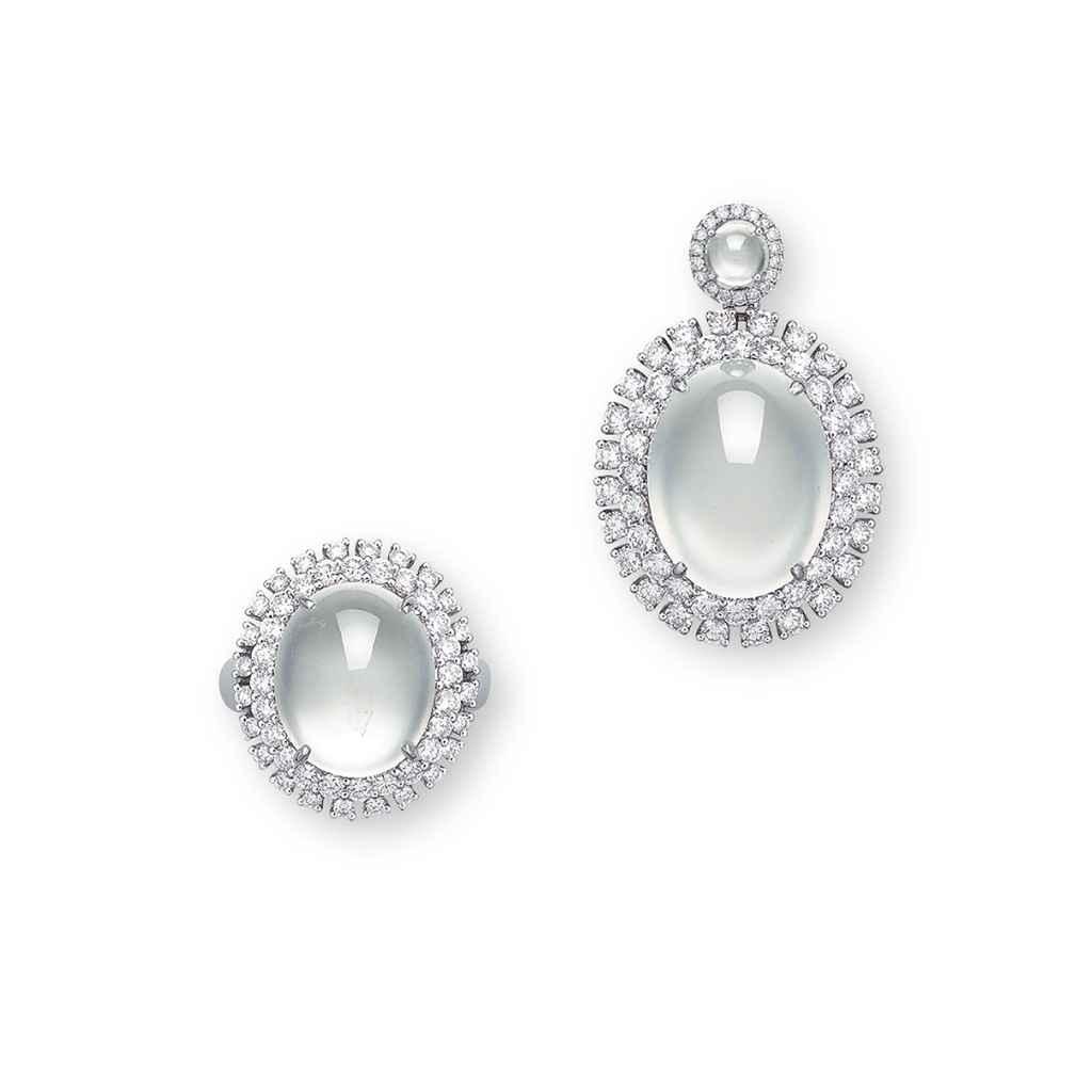 A SET OF JADEITE AND DIAMOND JEWELLERY