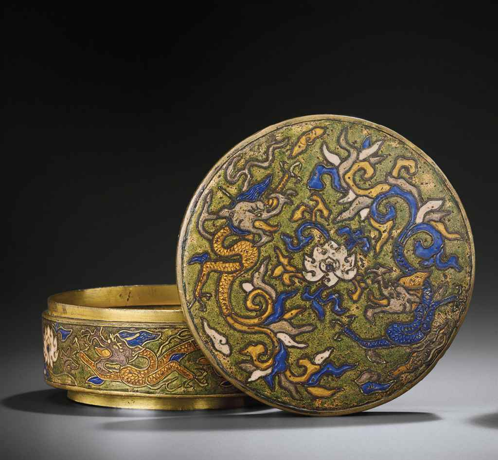 A VERY RARE CHAMPLEVE ENAMEL CIRCULAR BOX AND COVER
