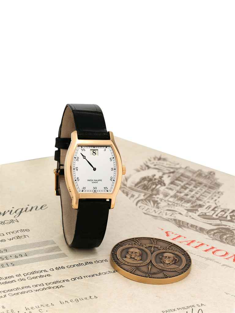 PATEK PHILIPPE A VERY FINE AND RARE 18K PINK GOLD LIMITED ED...