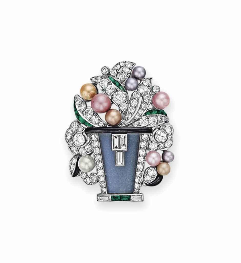 AN ART DECO DIAMOND AND MULTI-