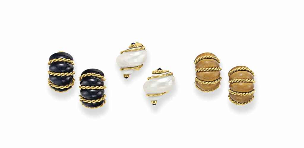 THREE PAIRS OF EAR CLIPS, BY S