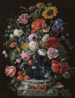 Tulips, a sunflower, an iris, hydrangeas, honeysuckle, willow catkins, carnations and other flowers in a glass vase on a marble pediment