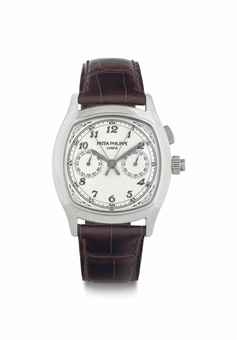Patek Philippe. A Fine and Very Rare Stainless Steel Cushion-Shaped Split-Seconds Chronograph Wristwatch with Breguet Numerals, Original Certificate, Additional Case Back, and Box