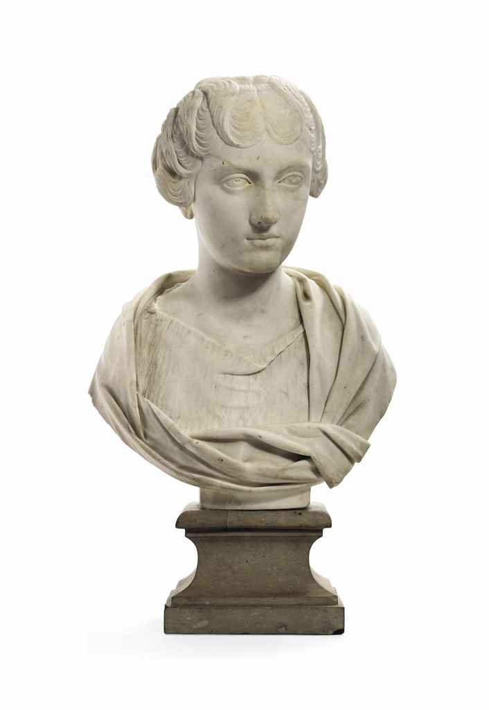 A CARVED MARBLE BUST OF FAUSTI
