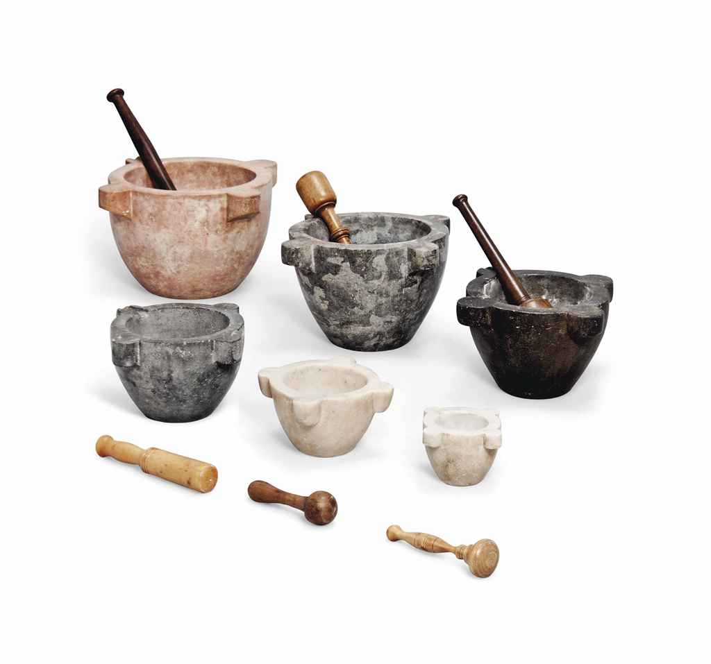 A COLLECTION OF SIX ITALIAN MARBLE MORTARS