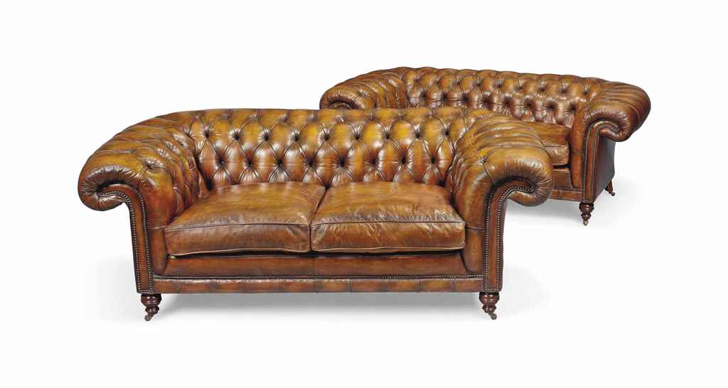 A PAIR OF CHESTERFIELD SOFAS