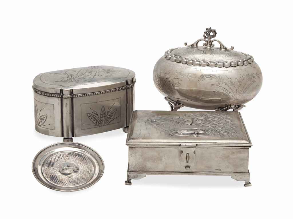TWO RUSSIAN SILVER BOXES WITH