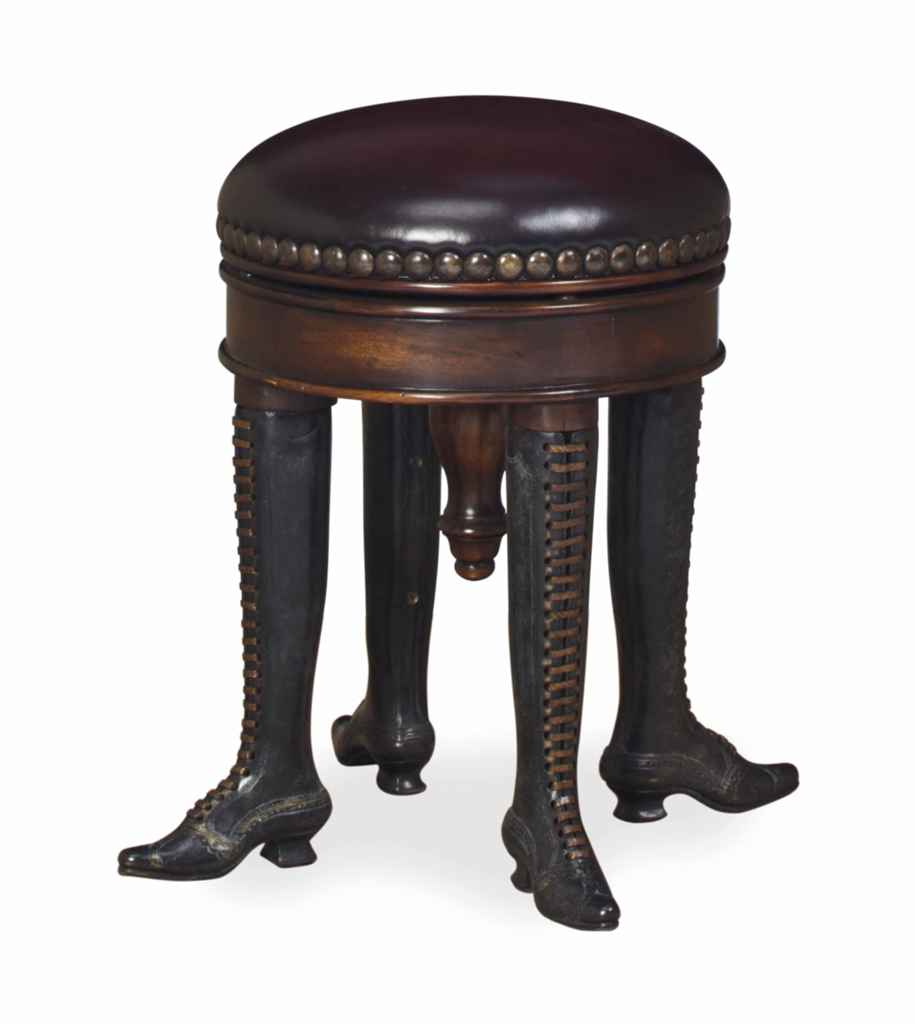 A MAHOGANY, BRONZE AND LEATHER