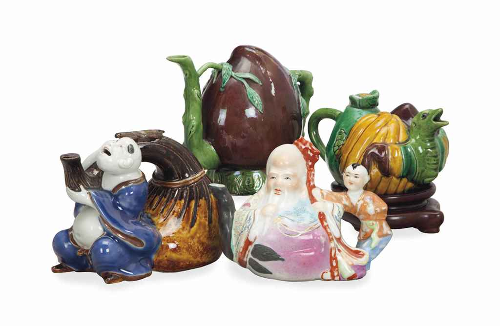 FOUR CHINESE FIGURAL TEAPOTS,