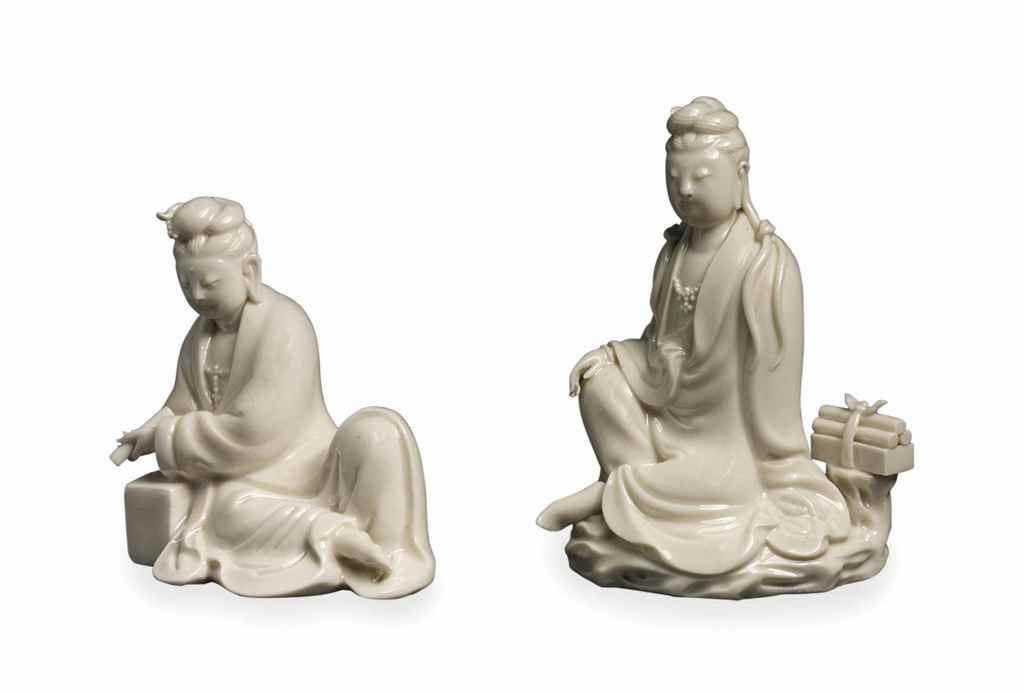 TWO CHINESE DEHUA FIGURES OF G