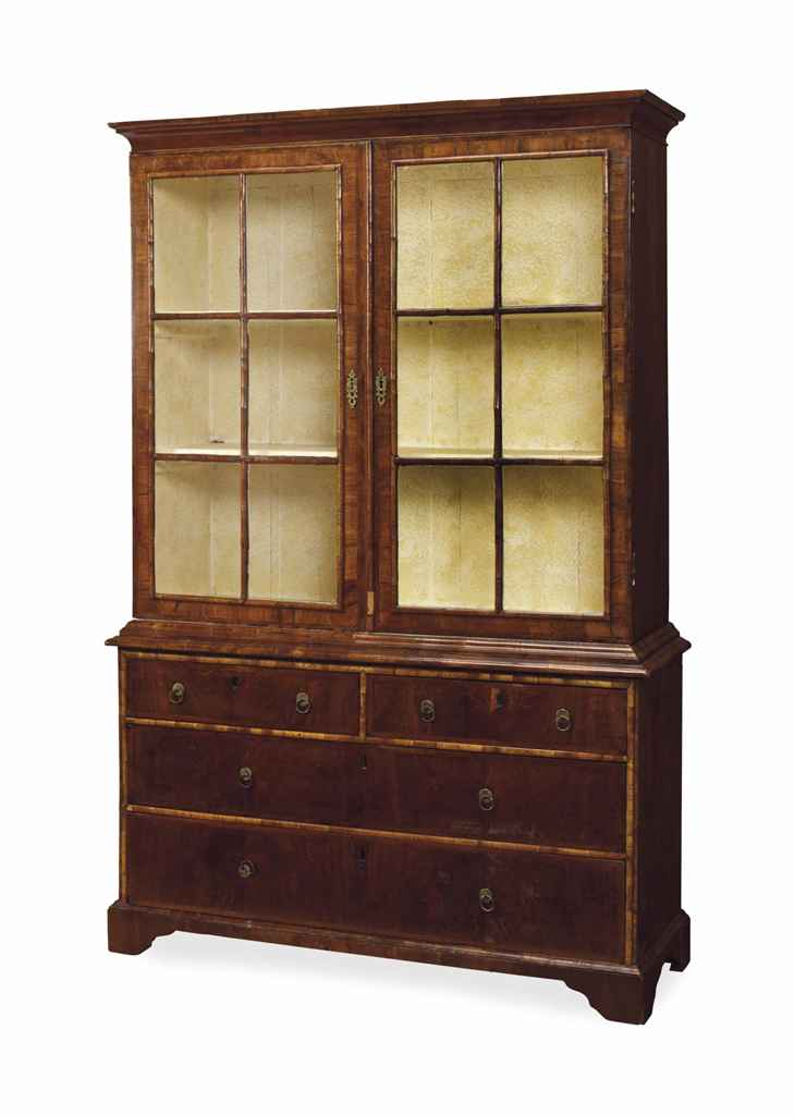 AN ENGLISH WALNUT BOOKCASE-CAB