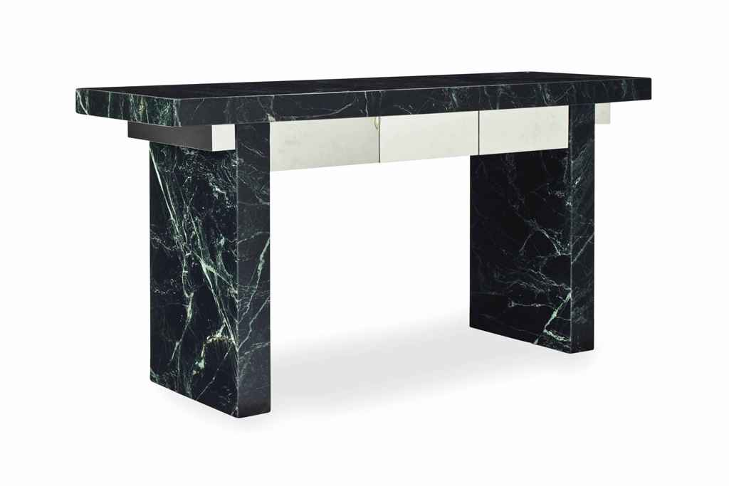 A PAIR OF GREEN MARBLE AND STE