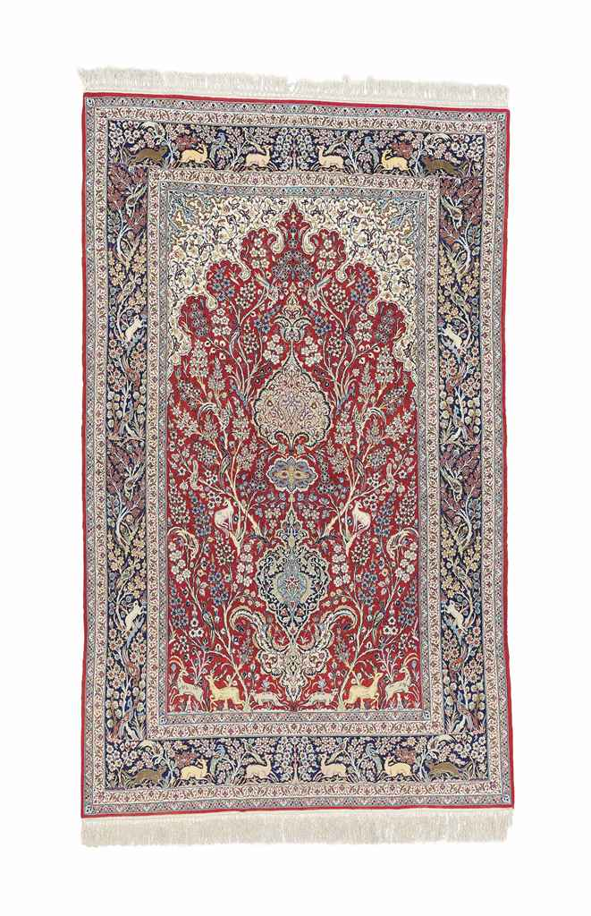 AN EXTREMELY FINE PART SILK ISFAHAN PRAYER RUG, CENTRAL PERS...