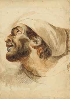 Head of a bearded man in profile