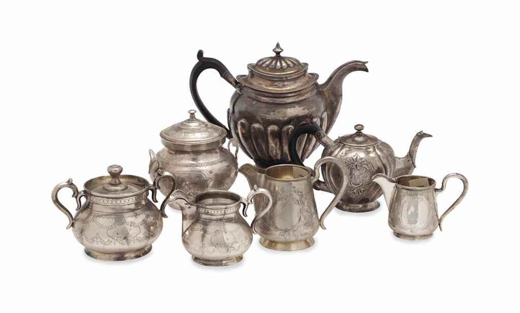 A GROUP OF RUSSIAN SILVER TEA WARES