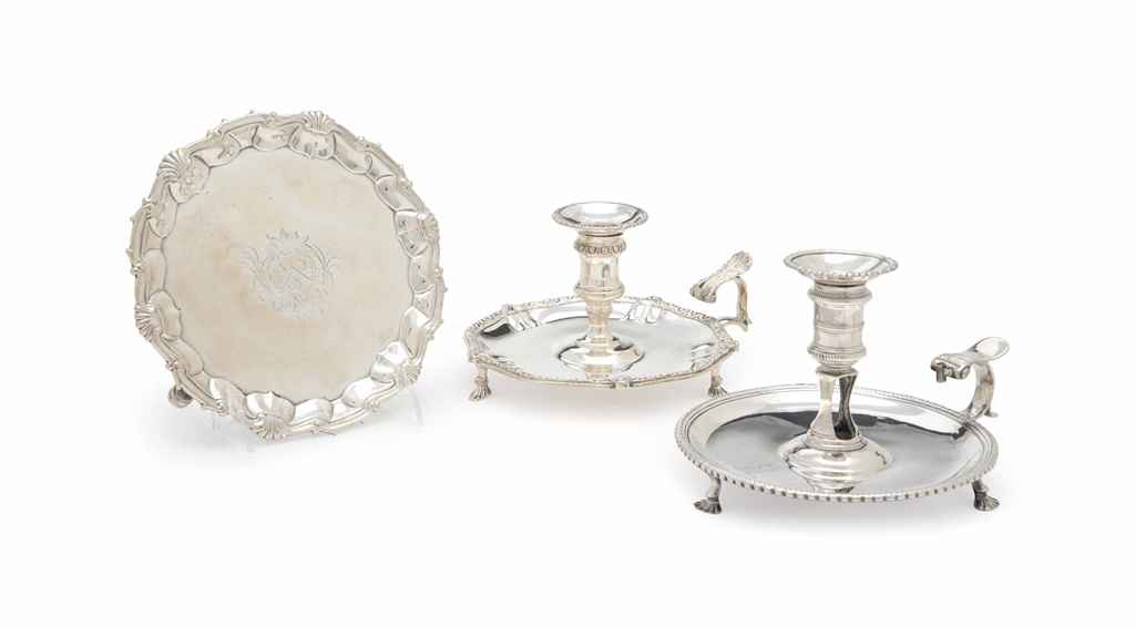 A GEORGE II SILVER WAITER, AND TWO GEORGE III SILVER CHAMBER...