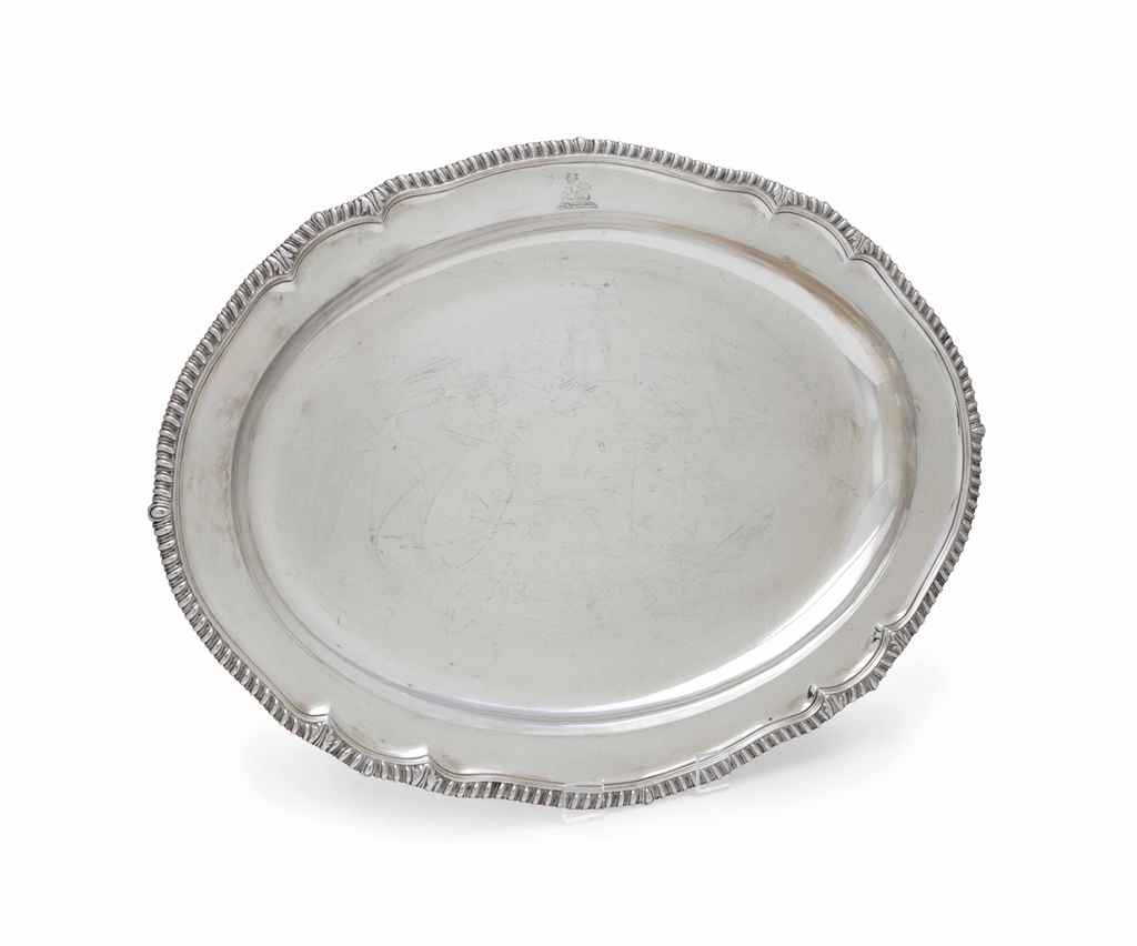 A GEORGE III LARGE SILVER OVAL MEAT DISH