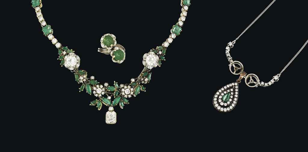 An emerald and diamond-set group of jewellery
